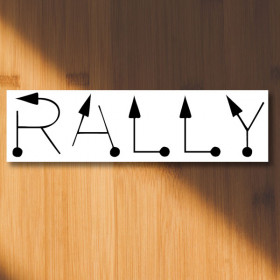 Rally tulip text - rally signs sticker
